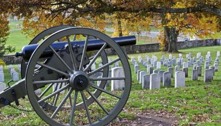 A canon in a cemetery at Gettysburg National Military Park.