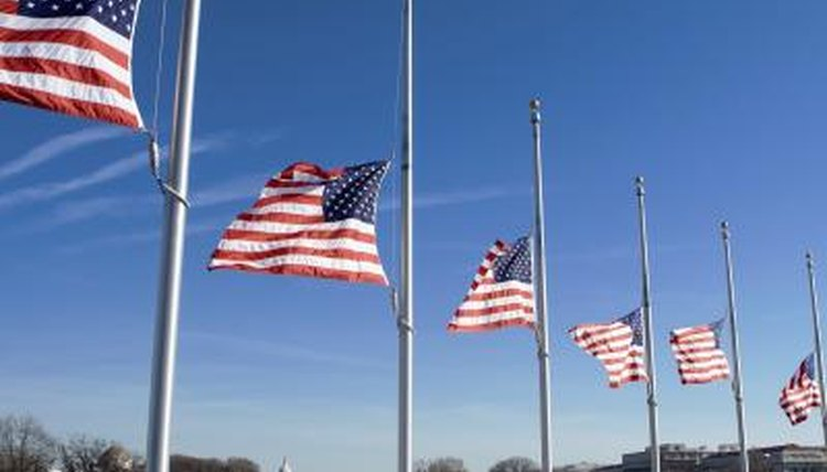 Flags flying at half mast