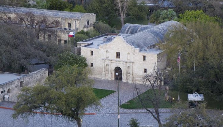 Aerial view of the Alamo in San Antonio, TX.
