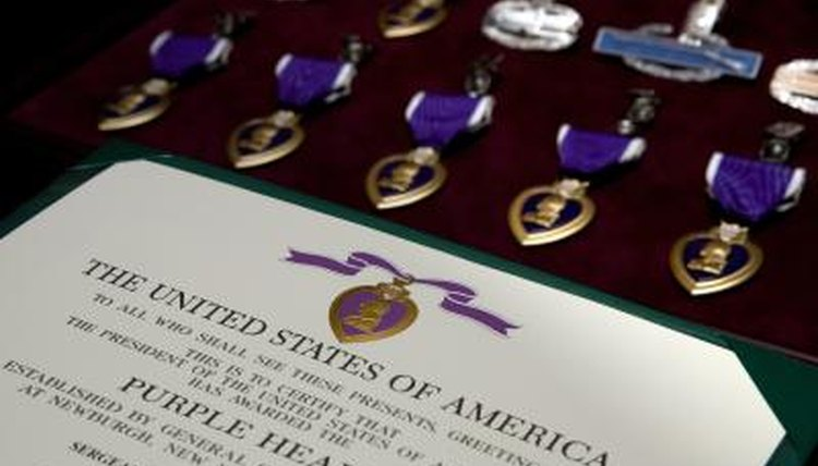 Purple Heart medals on display at Walter Reed Hospital