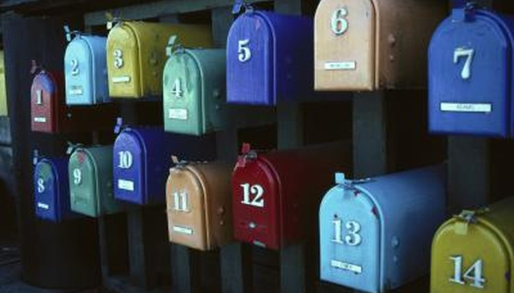 Colorful mailboxes.