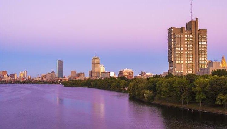 Boston University campus at twilight.
