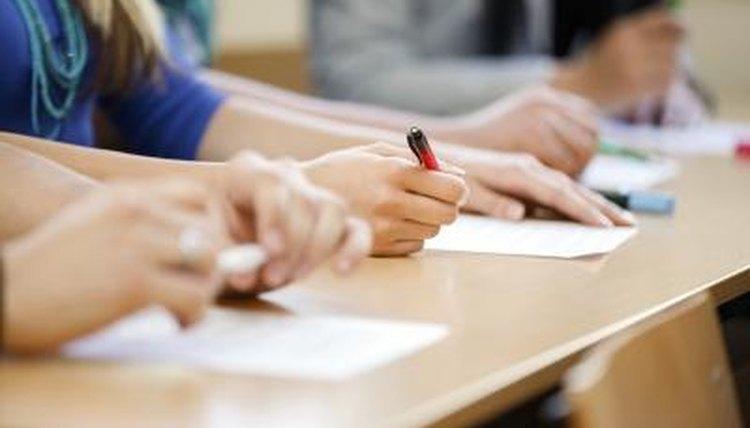 Students taking written test.