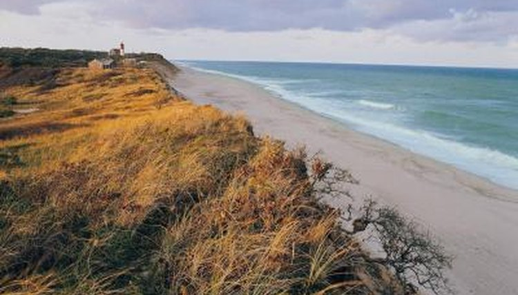 The beach at Cape Cod, Massachusetts, is an example of the coastline in the New England Colonies.