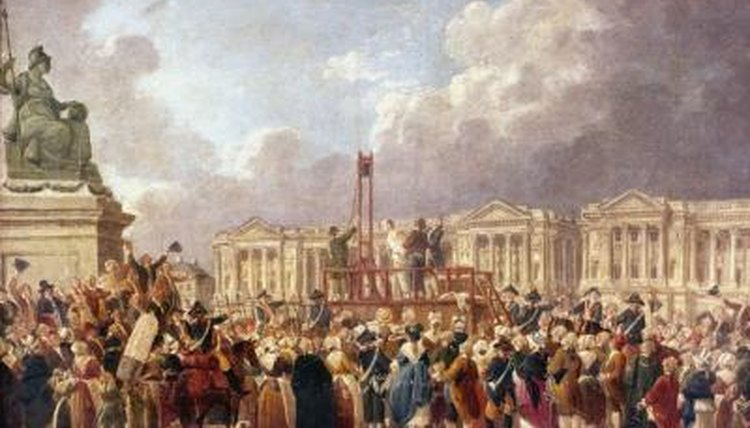 A crowd of people watching execution in Paris, France.