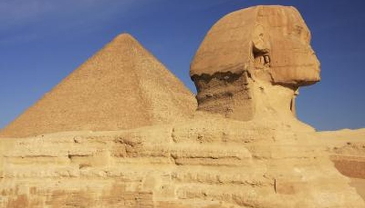 The sphinx and a pyramid in Egypt