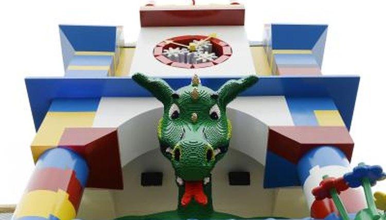 Large smoke breathing Lego dragon at the entrance of Legoland Hotel