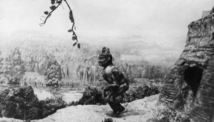 Circa 1920 Drawing of prehistoric man supposively living in the Thames Valley, England