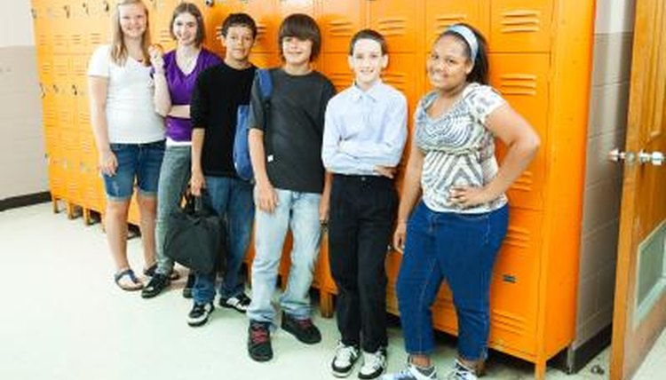 A group of high school students standing by lockers.