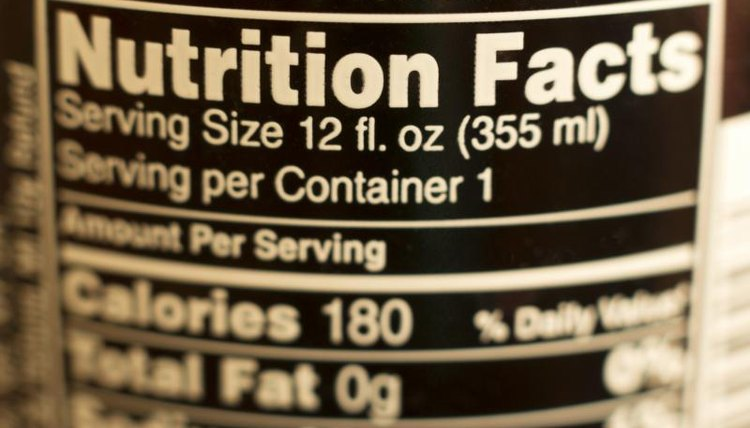 Close-up of nutrition facts on back of food product.