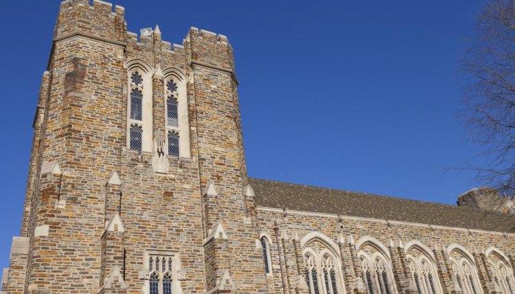 Close-up of Duke University building.