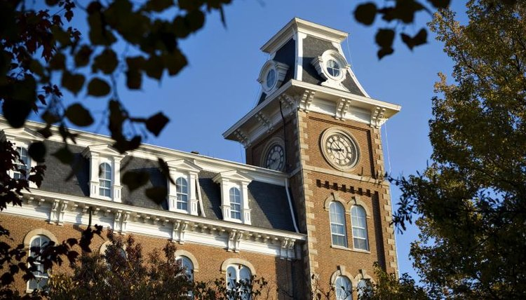 The Old Main, oldest building at the University of Arkansas
