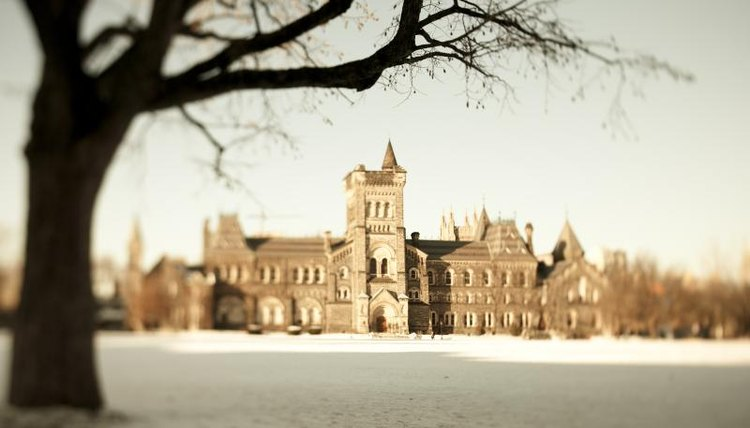 Building in winter at the University of Toronto.