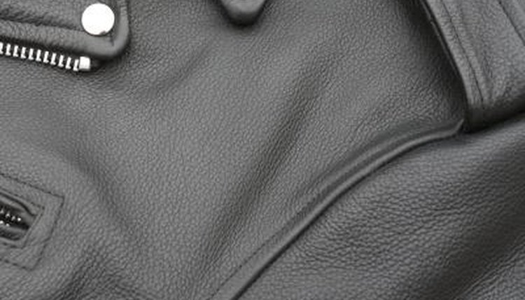 Leather jacket close up.