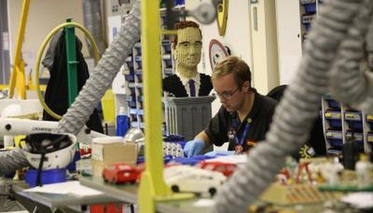 Lego model maker at work