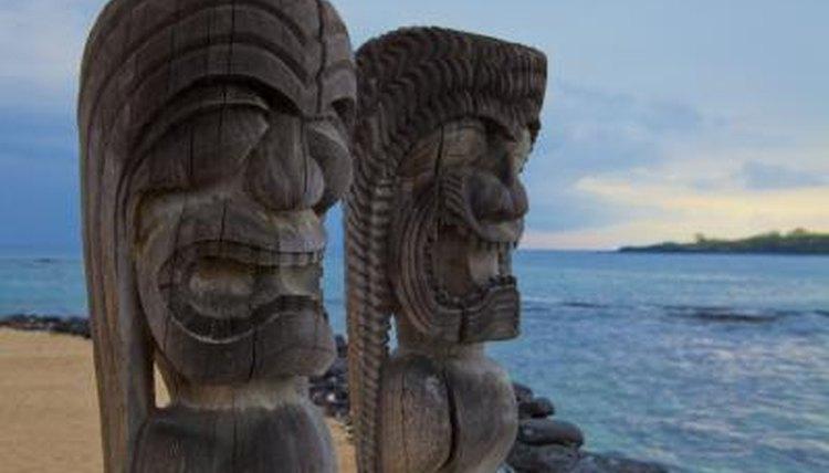 Hawaiian warriors wooden carved sculptures