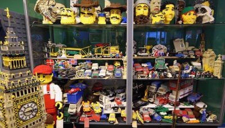 Lego models on shelf
