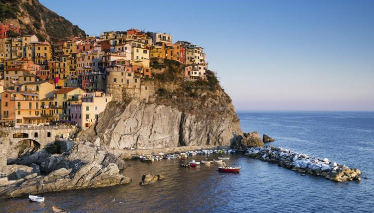 A small town in Northern Italy built into the cliffs above the sea.