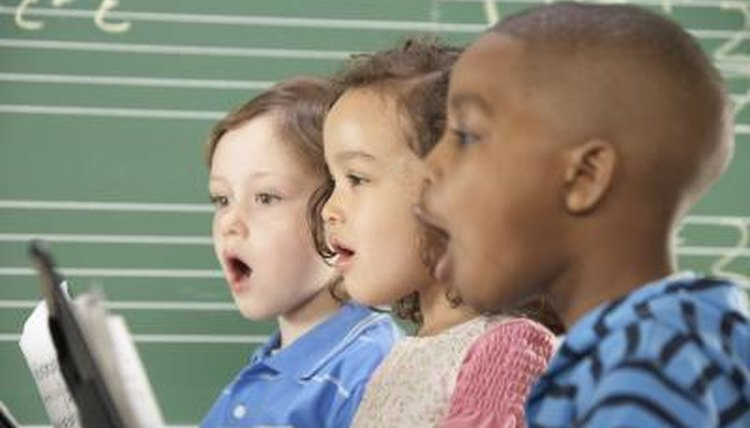 Children singing.