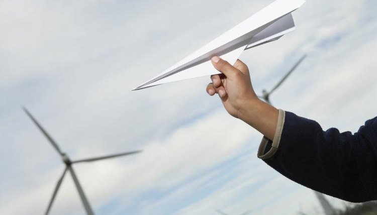 Close-up of folded paper airplane