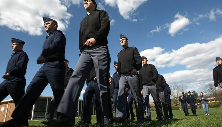 Air Force ROTC cadets march in field