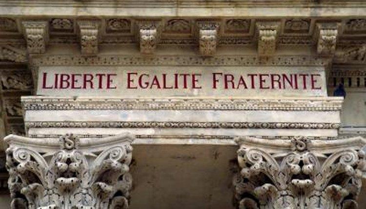 """Liberte, Egalite, Fraternite"", the moto of The French Revolution, written on the side of building"