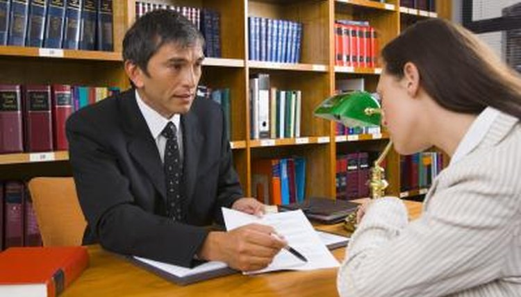 Woman talking with attorney