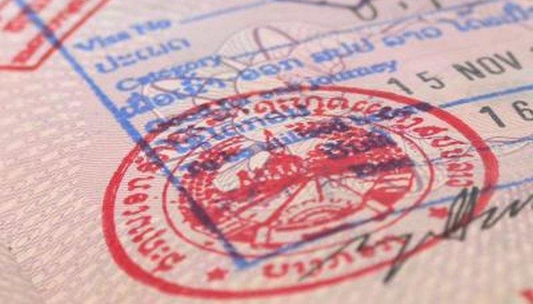 A close-up of a visa stamp.