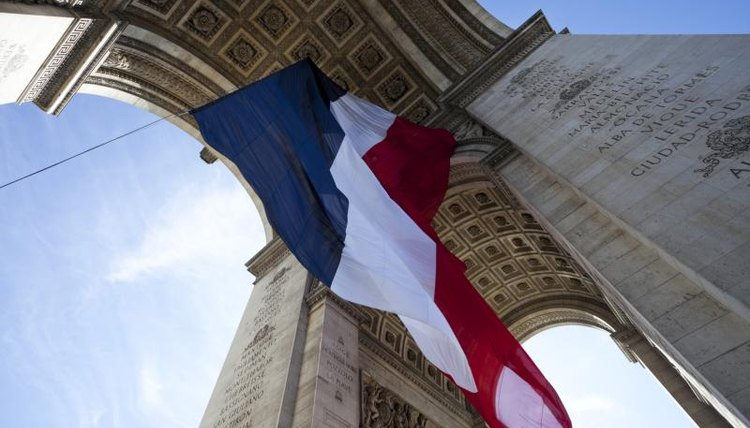 French flag waving during Bastille Day in Paris