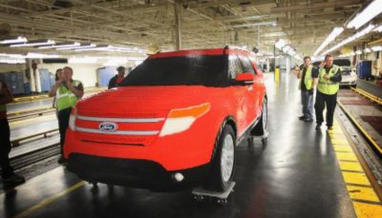 Ford Explorer made out of Lego blocks at Chicago auto assembly line