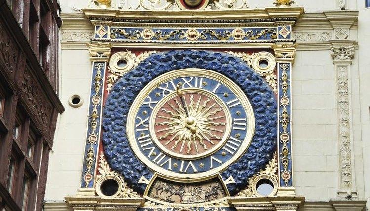 Medieval Renaissance clock in Rouen, France
