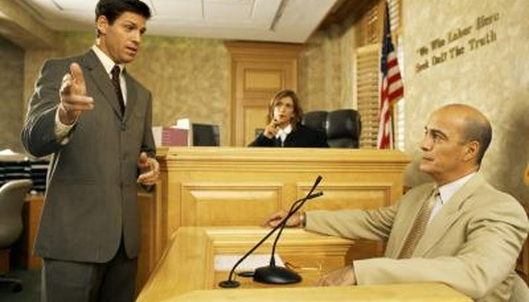 Lawyer with client in court