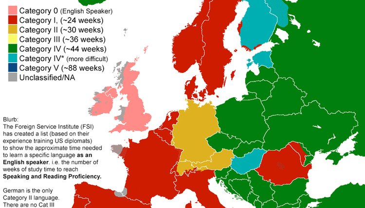 English to Foreign Language Difficulty, via British Foreign Service Institute