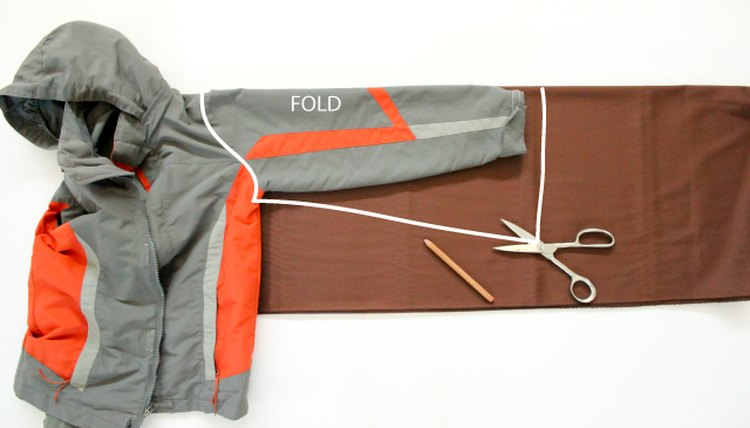 Picture of how to cut out the sleeve pieces for a Star Wars robe using a jacket as a pattern.