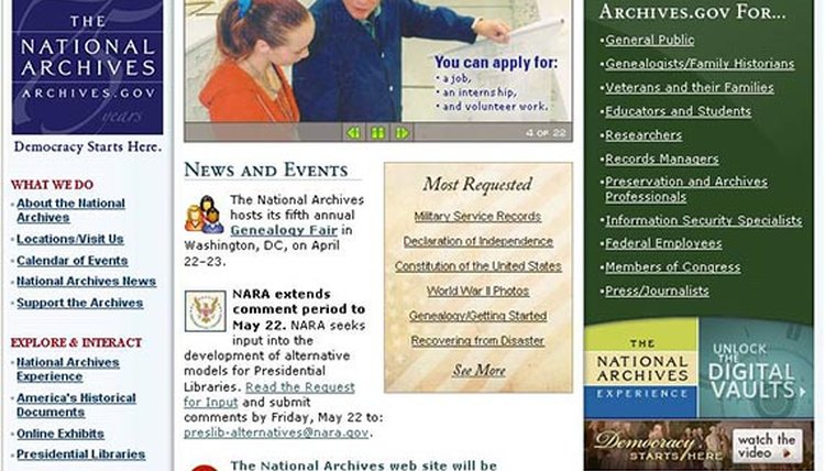 National Archives Web Site
