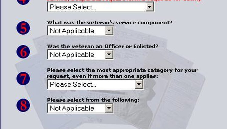 Indicate service branch, Request, Continue