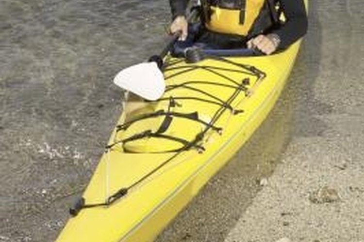 Flotation bags add buoyancy to a kayak.