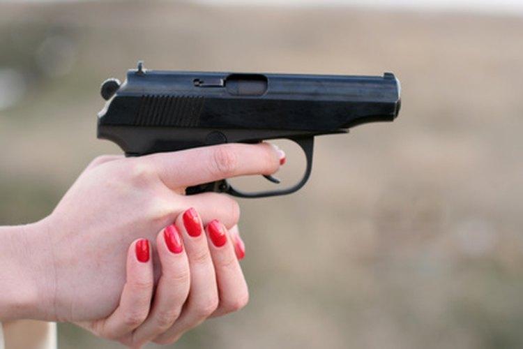 A blued finish on a pistol.