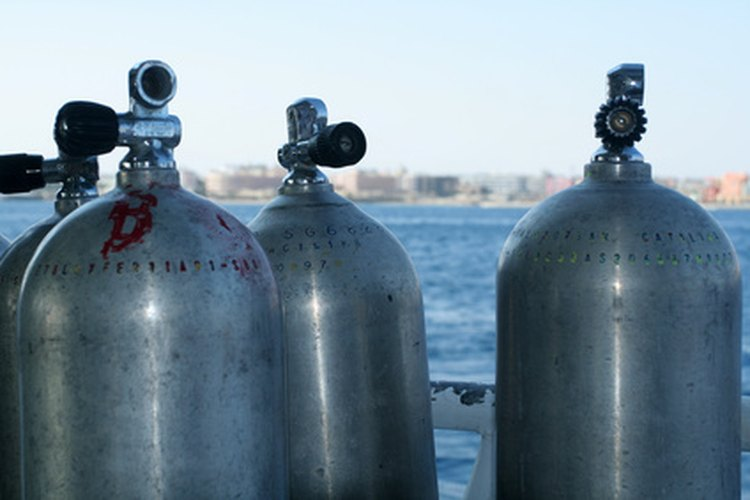 Scuba tanks contain different gases, depending on dive depth.