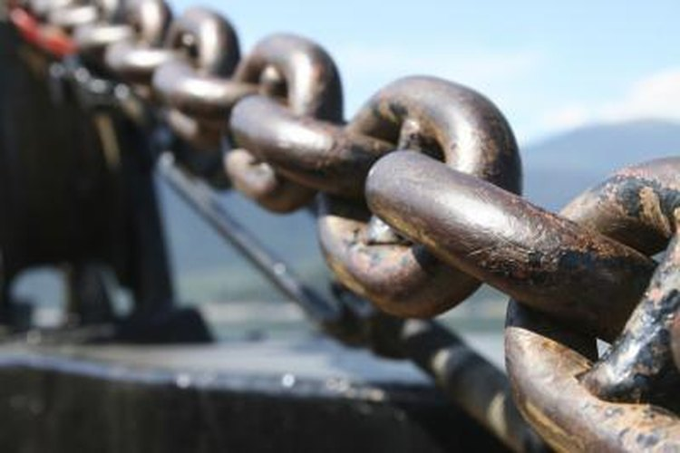 The anchor chain of a large ferry boat.