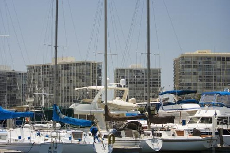 Sailing and motor yachts share space in San Diego's marina.