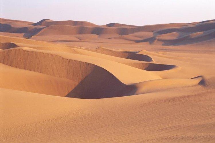 Sand dunes in the desert.