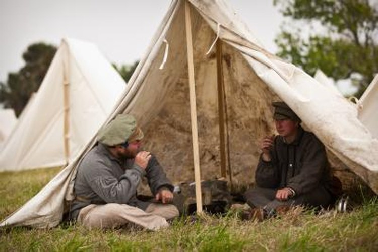 Civil War re-enactors use canvas tents for their historical accuracy.