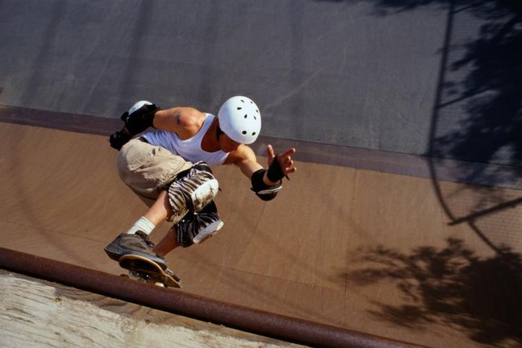 Many skateboard tricks feature spinning or flipping.