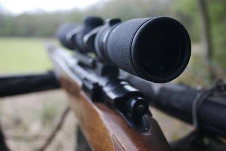 Close-up of rifle scope.
