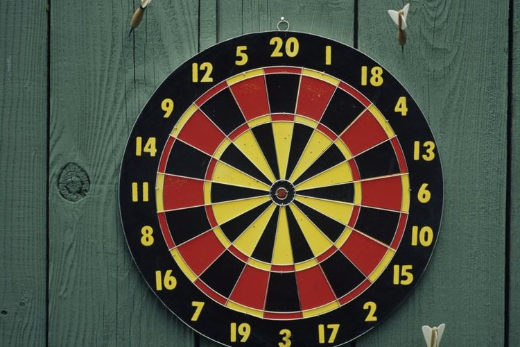 Dart boards are split into twenty separate sections, each worth a different score.