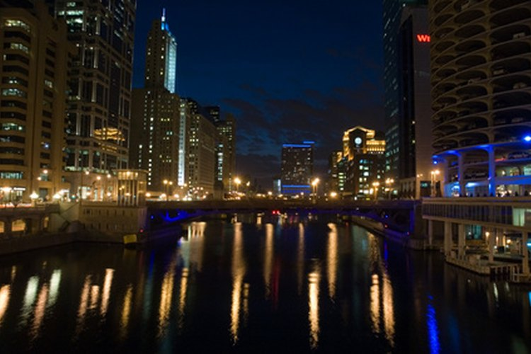 Chicago skyline showing lights and view from Lake Michigan.