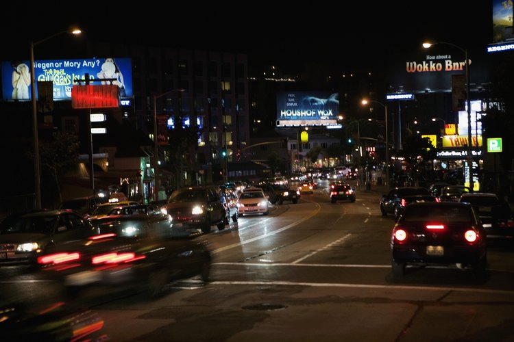 Sunset blvd at night in LA.