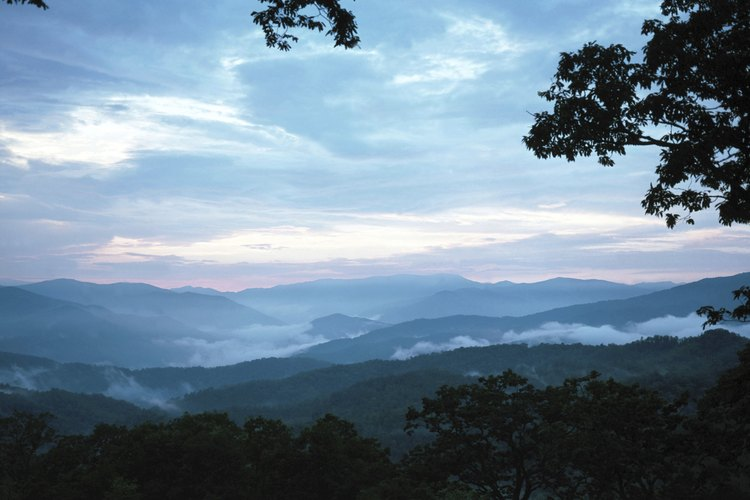 View of mist on Smoky Mountains in Tennessee.