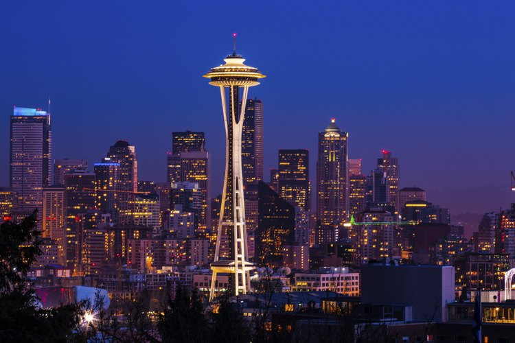 The Seattle skyline at night.